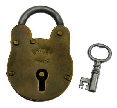 "Vintage Brass BRITISH MAKE Padlock with Key 2"" - ref.P492"