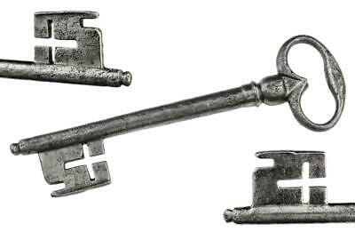 "Antique 18th/19th Century Iron Key with CROSS FORM WARD 4⅞"" - ref.k435"