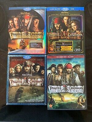 Pirates of the Caribbean LOT (Blu-ray Disc, 9-Disc) 4 MOVIE BUNDLE  1, 2, 3 & 4