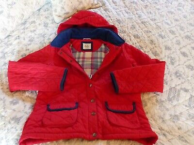Mini Boden girls red quilted fleece lined coat 13-14 years