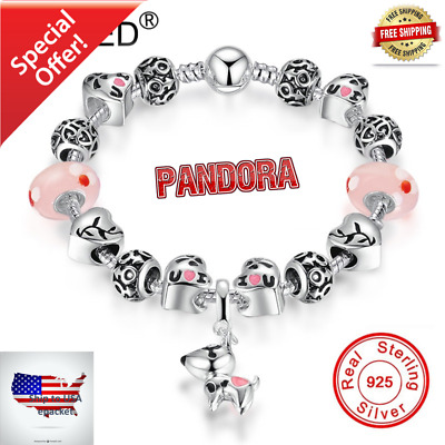 New Authentic Pandora Charm Bracelet Silver with Pink LOVE HEART European Charms