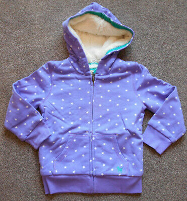 Mini Boden Girls Shaggy Lined Hooded Zip Up Jacket Age 4-5 Years Lavender NEW