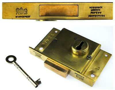 """Antique HOBBS & Co Patent Protectors 4"""" Brass Lock with Key"""