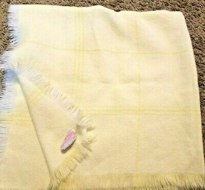 The Three Weavers Acrylic Baby Blanket Hand Woven Pastel Yellow Plaid
