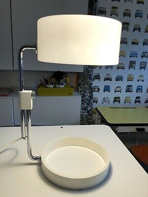 RETRO MID CENTURY GUZZINI STYLE TABLE LAMP Steel Base Perspex Shade 1960s-70s