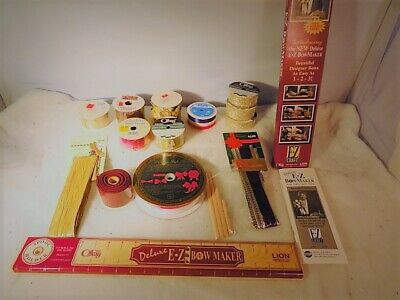 Vintage EZ Craft Deluxe Bow Maker with Christmas Holiday Ribbon 11 Rolls