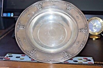 Sterling Silver Round Fruit Bowl or Candy Serving Plate ROSE POINT BY WALLACE