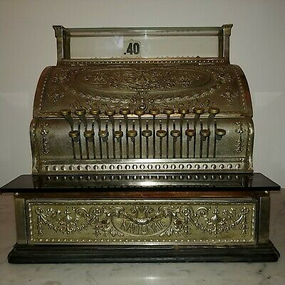 Antique American heavy silvered metal National cash register circa 1900s