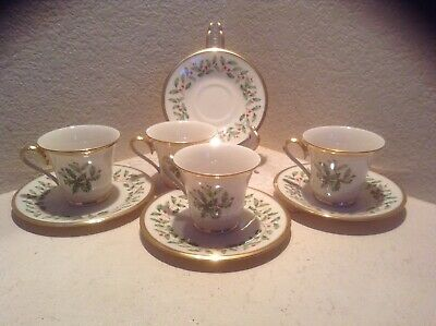(4) Lenox Holiday Dimension Footed Cup and Saucer Holly China EUC