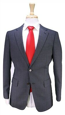 PAUL STUART Gray w/ Sky Blue Pinstripe 2-Btn Modern Fit Wool Suit 36R