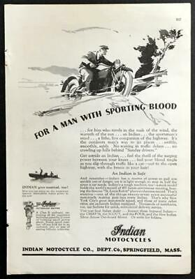 """INDIAN MOTORCYCLE VINTAGE AD WITH GIRL ART POSTER REPRINT 18"""" x 24/"""" Giclee"""