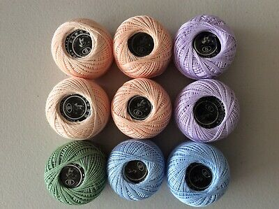 Mixed Lot Of Crochet Mercerised Cotton Thread Yarn 9 Balls