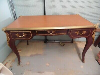 French Louis XV Style Ormolu Writing Desk with Gold Detailed accents Leather Top