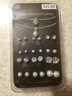 NWT 12 Piece Set Stud Earrings and Necklaces Cubic Zirconia Wardrobe