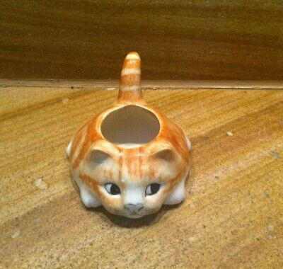 Gorgeous Mike Hinton England Ginger Cat Eggcup