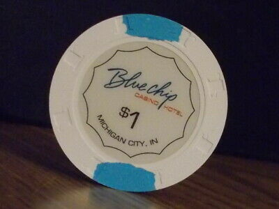 BLUE CHIP CASINO HOTEL $1 hotel casino gaming poker chip ~ Morgan City, IN
