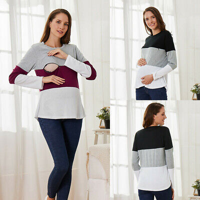 Women Pregnant Maternity Nursing Breastfeeding Tops Long Sleeve T-Shirt Blouse A
