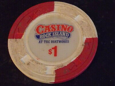 CASINO ROCK ISLAND AT THE BOATWORKS $1 hotel casino gaming poker chip