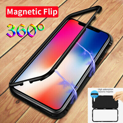 For iPhone 11 Pro Max XR XS 6 7 8 Plus Magnetic Adsorption Flip Metal Glass Case