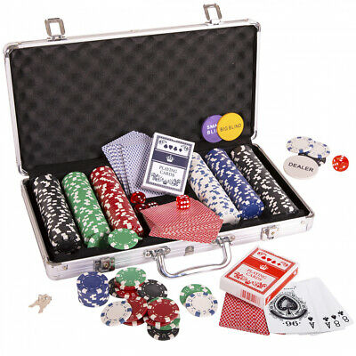 Silly Goose Poker Chip Set, Poker Chips 300/11.5 gr, Color Dice 5, Playing Cards