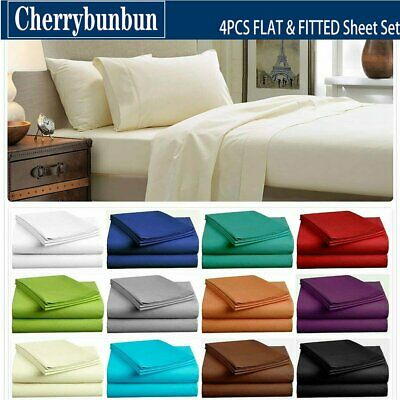 1000TC 4 Pieces Ultra SOFT Bed Flat & Fitted Sheet Set Single/Double/Queen/King