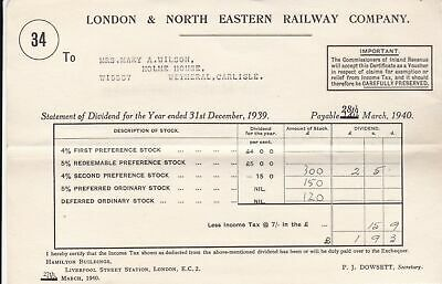 London & North Eastern Railway Company 1940 Final Dividend Receipt Ref 38683