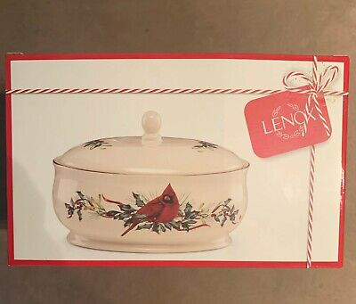 Lenox Winter Greetings Oval Footed Covered Casserole Dish 64 oz. New