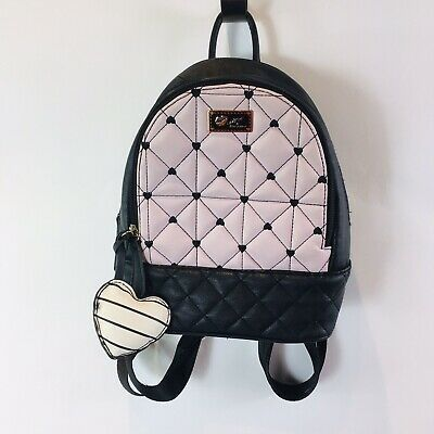 Luv Betsey Johnson Womens Mini Backpack Blush Black Quilted White Heart Stripes