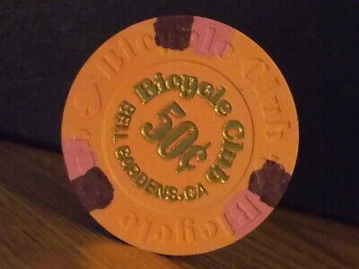 BICYCLE CLUB CASINO 50¢ (50 cents) hotel casino gaming poker chip ~ California