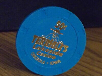 TERRIBLE'S LAKESIDE CASINO 50¢ (50 cents) hotel casino gaming poker chip ~ Iowa
