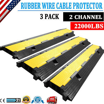 3PCS Cable Protector Ramp 2Channel Rubber Electrical Wire Cable Cover Ramp Guard