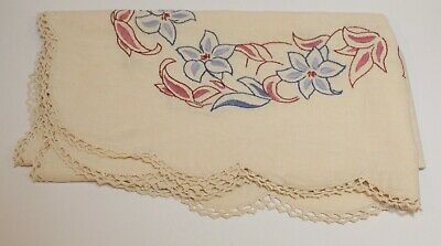 Vintage Hand Embroidered Tablecloth  - Square 88 x 88 cm - Floral - Linen  - GC
