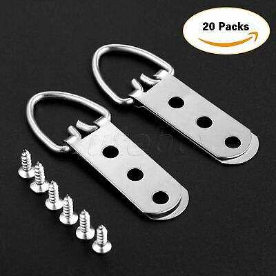 "20Pcs 2.5""×0.9"" D-Ring Painting Picture Hangers Frame Hanging 3 Hole+60 Screws"