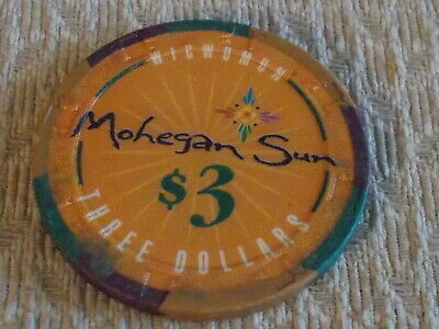 MOHEGAN SUN CASINO $3 hotel casino gaming poker chip ~ Connecticut