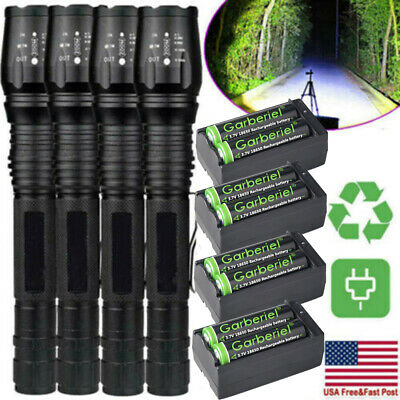 Lot- Tactical 990000Lumens 5Modes T6 LED 18650 Flashlight Zoom Aluminum Torch US