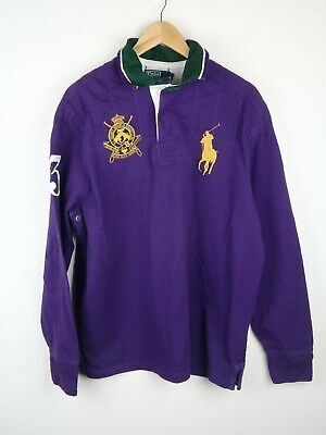 Ralph Lauren Polo Mens Rugby Style Shirt Purple Custom Fit Size Xl
