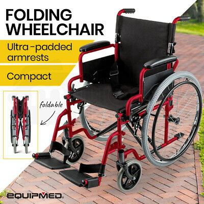 EQUIPMED 24 Inch Folding Wheelchair Foldable Manual Portable Wheel Chair Brakes