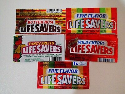 5x 1980s Lifesaver Wrappers