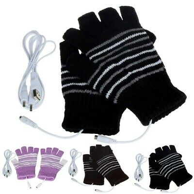 USB Heated Gloves Fingerless Winter Hands Electric Warmer Rechargeable Thermal