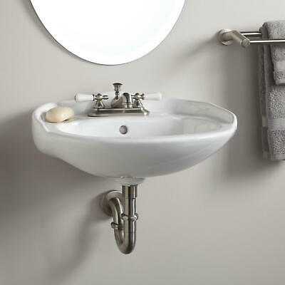 """Victorian Mini Porcelain Wall Mount Bathroom Sink 4"""" Centers in White"""