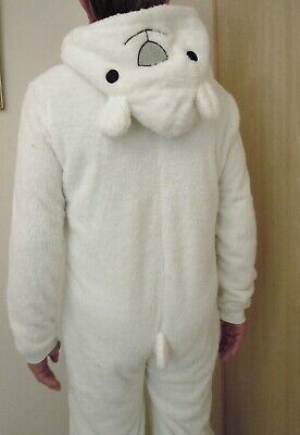 Loungeable All-In-One Velour/Fur/Fleece Hooded Jumpsuit Polar Bear, S: L New
