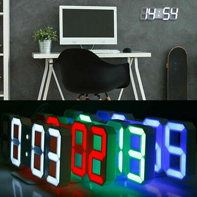 USB Large 3D Modern Digital LED Table Night Wall Clock 24/12 Hour Timer Alarm r8
