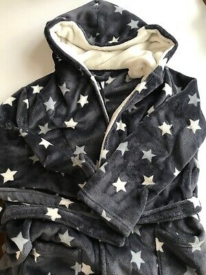 Girls Grey White Stars Soft Hooded Dressing Gown New Look 915 Large Age 11 to 15