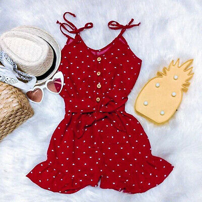 Toddler Kids Baby Girl Spotted Romper Short Jumpsuit Playsuit Outfit Summer 1-6T