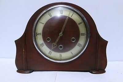 Vintage Smiths Westminster Chiming Mantel Clock with Key and Pendulum - 213