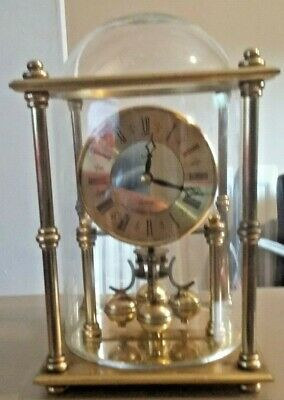 Vintage Acctim Quartz brass anniversary clock with glass dome not plastic