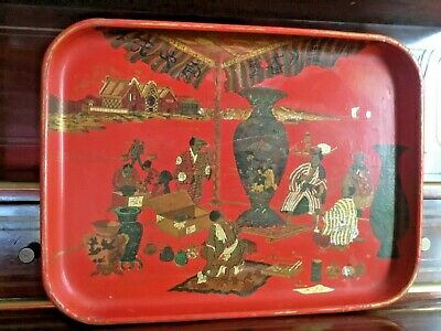Antique Vintage French Red Paper Mache Tray Japanese Scene