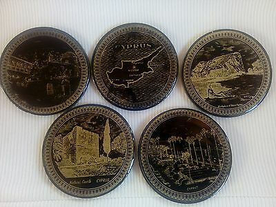 A set of 5 Cyprus themed coasters