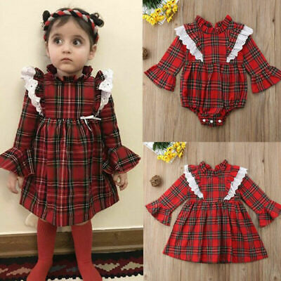 Christmas Newborn Baby Girl Clothes Lace Xmas Romper Dress Jumpsuit Outfit Set