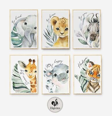 Baby Safari Nursery Wall art, set of 6, Be brave, be happy, Be brave, Dream big